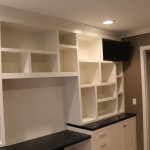 Custom built in office with a T.V. nook