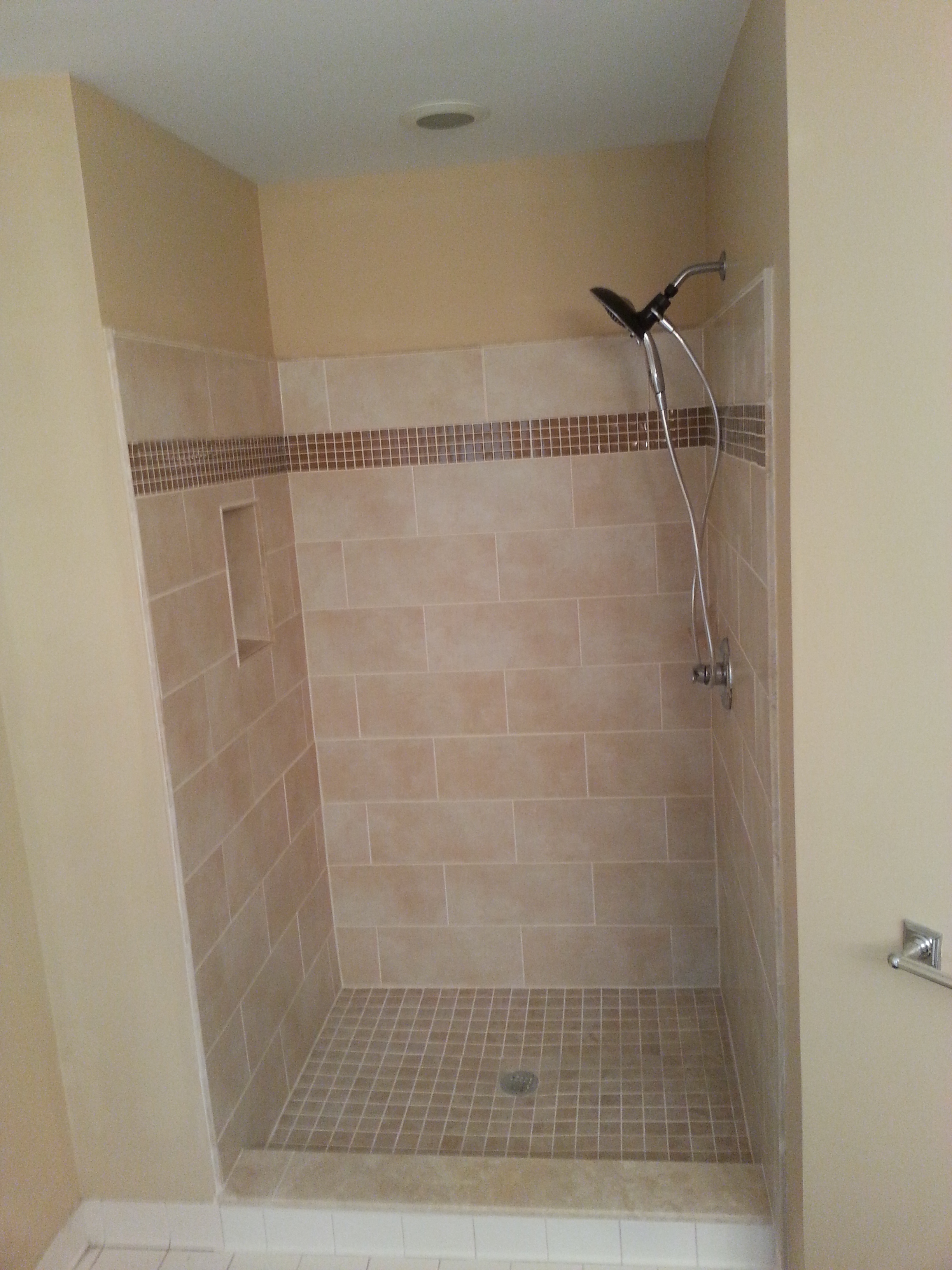 Recently completed custom tile shower landmark contractors for Old tile bathroom ideas