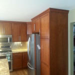 Another view of new kitchen. Full height pantry cabinet with the refridgerator