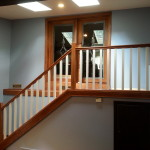 Newly remodeled oak stairs and railing