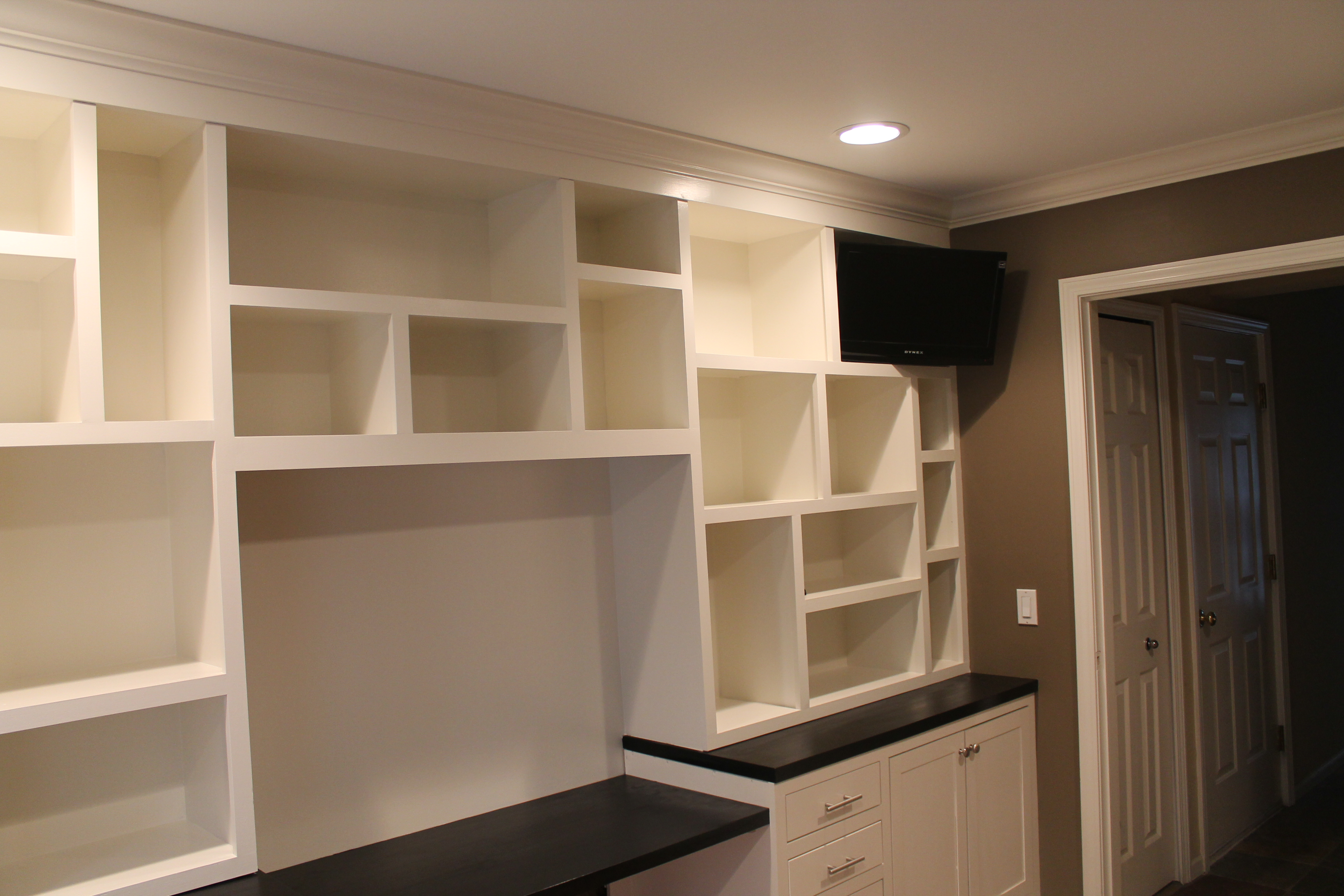 Custom Built In Office With A T V Nook